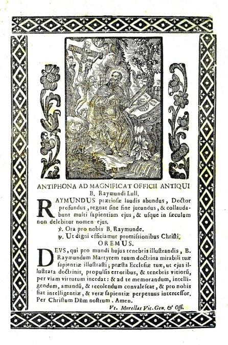 [2] Antiphona ad Magnificat officii antiqui B. Raymundi Lull, s. a.