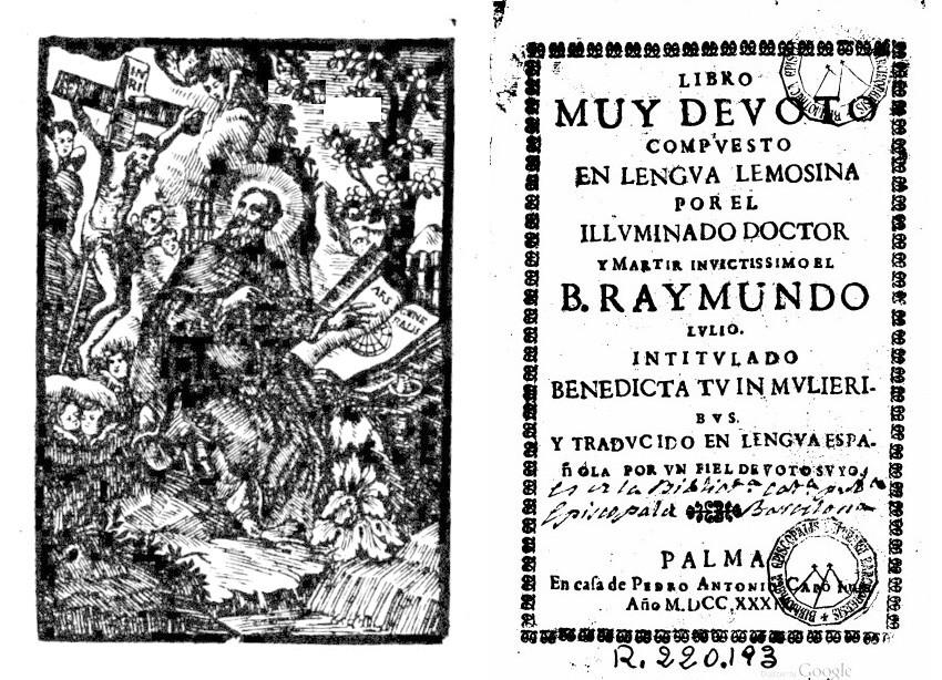 llull libro muy devoto 1789 Capo portada