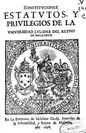 uNIV. mALLORCA, 1698.