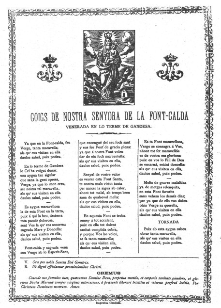 fontcalda goigs 1979 gandesa reprint 1200